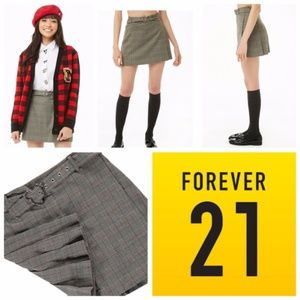 Forever 21 Mickey Mouse Belted Glen Plaid Skirt